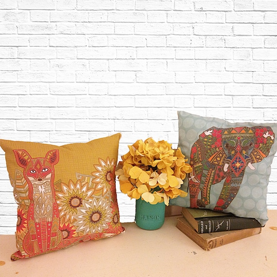 How To Make A Small Decorative Pillow : Items similar to Decorative Throw Pillows, Boho Chic, Fox, Elephant, Indian Pillows, Small ...