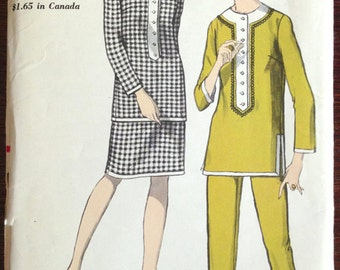 Vogue 6617 - 1960s Overblouse with Contrast Collar and Placket, Pants and Skirt - Size 10