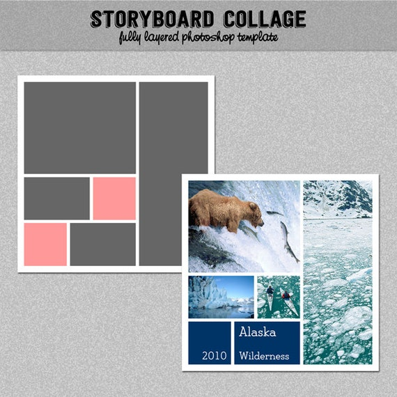 photo storyboard photo collage template photoshop template 12x12