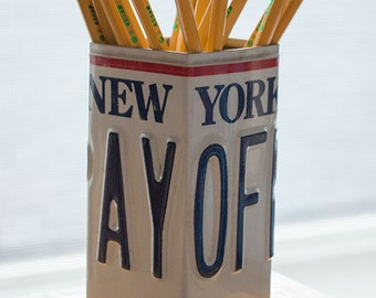 New York License Plate Pencil Holder - Pencil Cup - Pen Cup - Home Office - Desk Organizer - Office Decor - Pen Holder - Desk Decor