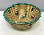 Basket African Tanzania Round Bowl Woven River Weeds Handmade Tribal Basket Reed Turquoise Purple Decorative Food Basket Unique