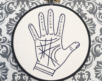Palm Reading Fortune Teller Hand Embroidery Occult Illuminati Pagan Witchcraft Embroidery Hoop Palm Reading New Age Magic Gypsy Halloween