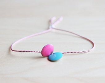 Pink and blue summer bracelet / silk cord bracelet / wish bracelet / dainty bracelet