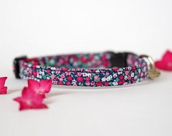 Small Dog or Puppy Collar, Navy and Pink Floral, Handmade, Made To Measure
