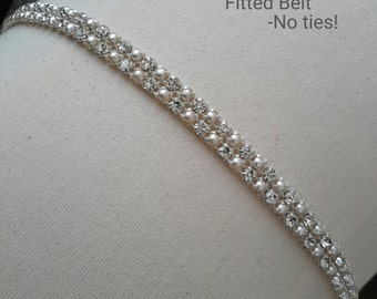 Bridal Belt, Thin Rhinestone Belt, Skinny Bridal Belt, Pearl Belt, Wedding Sash, Rhinestone and Pearl BridL Belt Best Friend Bridal 112PS