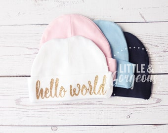 Going Home Outfit, Newborn Hat, Hello World Newborn Hat, Newborn Beanie, Personalized Hat, Baby Beanie, Infant Cap, Baby Coming Home Outfit