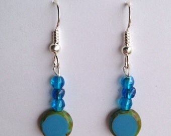 Aqua Blue Multicolor Beaded Dangle Earrings, silver plated hypoallergenic fish hooks beads