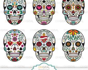 skull clip art set sugar skulls day of the dead halloween - Mexican Halloween Skulls