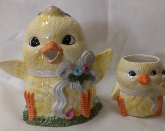 Yellow Chick Pitcher & Cup  (374)