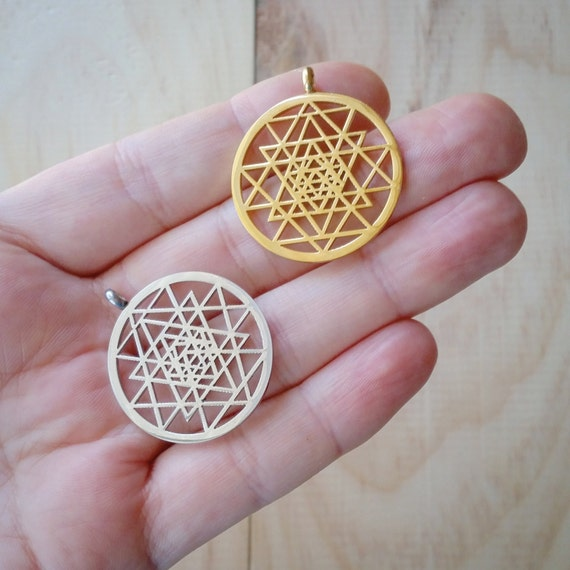 Laser Cut Gold Platinum: Sri Yantra Pendant 30mm Laser Cut Silver Or Gold Coated