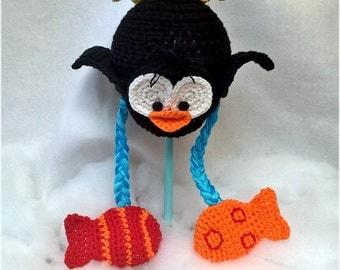 Custom Order Hand Crochet Fishing Penguin Beanie Hat Newborn-Adult