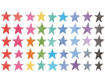 45 Watercolor Cliparts, Stars Clipart, Handpainted Clipart, Watercolor Stars