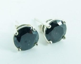 Vintage 925 Sterling Silver Onyx Stud Earrings