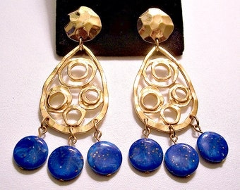 Avon Blue Marbled Glitter Teardrop Hoop Clip On Earrings Gold Tone Vintage Hammered Round Top Button Open Swirl Rings Long Dangles