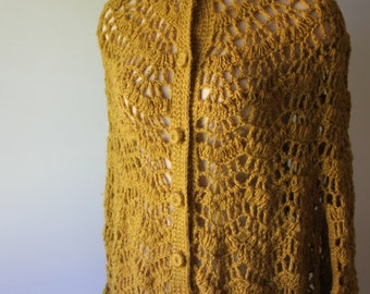Yellow Golden Vintage Hand Crochet Shawl Poncho w/ buttons and Fringe