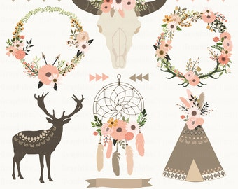 Fall Floral Tribal Clip Art. Floral Skull, Dream Catcher, Floral Teepee, Floral Wreaths. 11 images, 300 dpi Eps, Png files. Instant Download