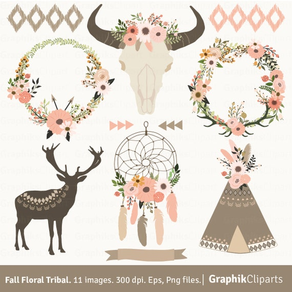 Fall Floral Tribal Clip Art Floral Skull Dream Catcher