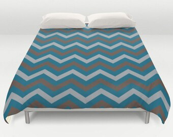 Teal Duvet Cover, Teal Chocolate Duvet, Chevron Comforter, Blue Brown Grey Duvet, Gray Teal Bedding, Bed Cover, King Queen Full Twin, Size