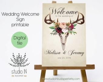 PRINTABLE Large Wedding Welcome Sign, Large Welcome Sign, Rustic Wedding Sign, Reception Sign, Boho wedding, PRINTABLE