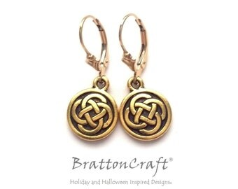 Gold Celtic Knot Earrings - Gold Celtic Earrings - Celtic Circle Earrings - Celtic Jewelry - Celtic Knot Jewelry
