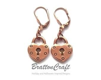 Copper Heart Lock Earrings - Copper Heart Earrings - Copper Lock Earrings - Heart Lock Charm Earrings - Heart Earrings - Epsteam