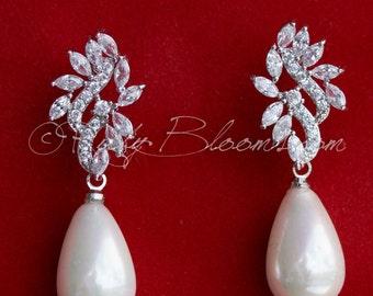 Art Deco Bridal CZ Pearl Earrings, Silver Pearl Earrings, Cubic Zirconia Earrings, Bridesmaid Earring, Teardrop Silver  Earrings