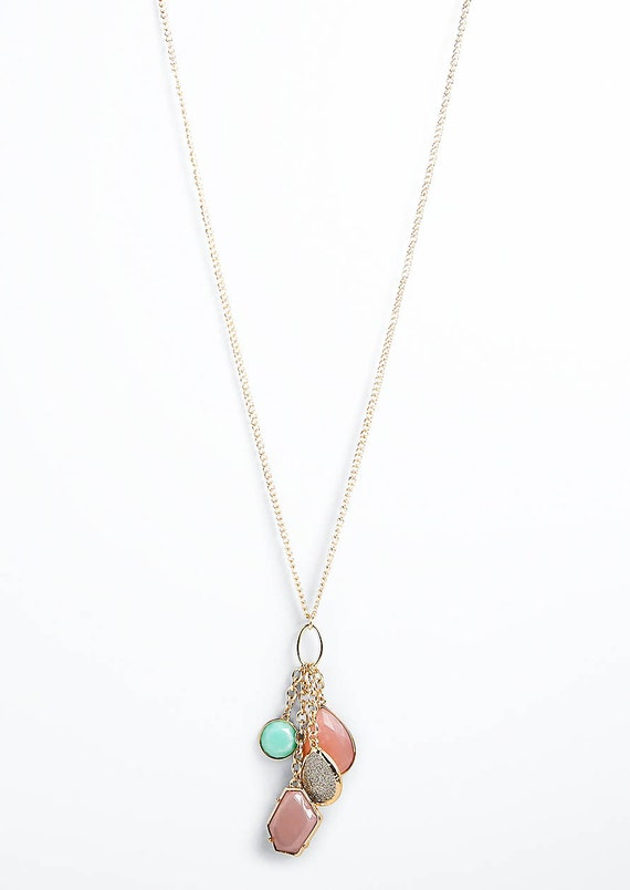 Light Pink Pendant Statement Necklace Long Statement