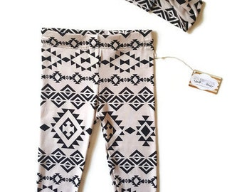 Girl legging set, baby leggings, legging and headband set, Aztec print leggings, trendy girl clothes, baby girl turban headband, baby gift