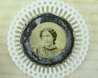 Antique Milk Glass Photograph of a Young Woman // Folk // homemade // c. 1880s - 1890's