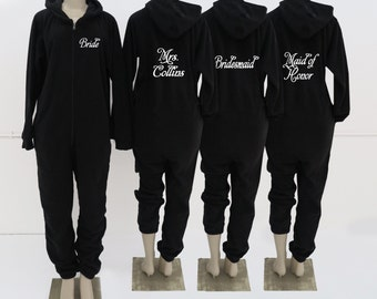 Set of 8 Personalized Fleece onesies with Name on Front and Title on Back, Bridesmaid Pajamas, Bridesmaid Gifts, adult onesies, adult onesie