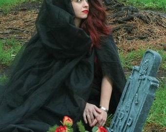 Victorian Style Black Hooded Cape Halloween Costume