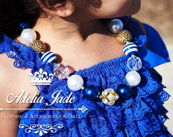 Navy Blue White and Gold Chunky Necklace, Little Girl Chunky Necklace, Baby Chunky Necklace, Bubble Gum Childrens Necklace, Baby Jewelry
