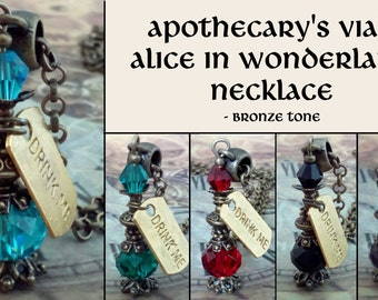 Bronzetone Apothecary's vial bottle necklace - Drink me Alice in Wonderland necklace