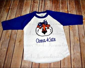 Personalized Aubie Inspired Girl's Shirt | Auburn | Gift | Childrens | Adults | Toddler | Auburn Raglan