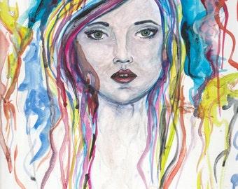 Watercolor girl print