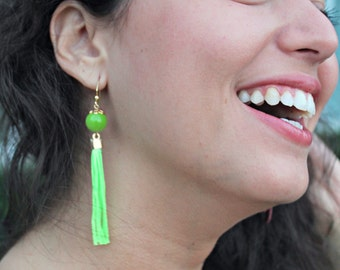 Fringes earrings, Green fringes earrings, Fabric earrings, Large earrings, Green earrings, ethnic earrings, Gifts for her