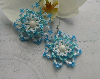 Blue earrings White earrings Lace Earrings with Beads Dangle earrings Handmade Beaded earrings Tatted Jewelry womens gift birthday gift
