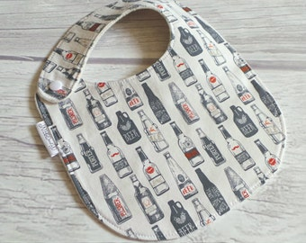Craft Beer Baby Bib / Side Snap Baby Bib / Drool Bib / Organic Cotton Fleece / Hipster Baby / Beer Lover / Home Brewer / Oktoberfest Baby