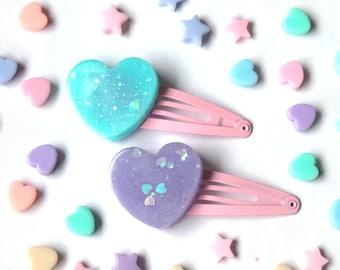 Pastel Heart Hair Clips - purple and blue fairy kei hair clip, kawaii hair clip