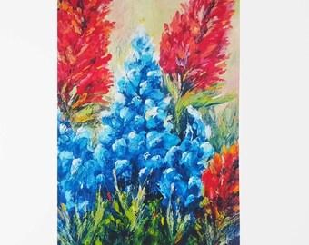 Texas bluebonnets Bluebonnet art Bluebonnets Texas art Bluebonnet print Texas wildflower Texas décor 5x7 print 8x10 print 11x14 print Flower