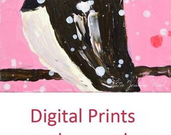 Pink Cottage Chic Chickadee Bird Painting Digital Print. Home Wall Print. 151