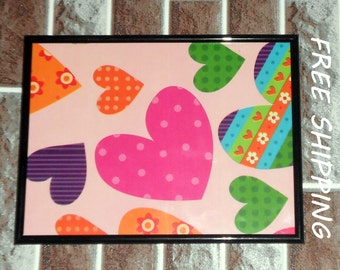 wall decor, wall picture, kids room decor hearts print in frame