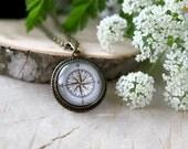 Vintage Compass Necklace, Antique Bronze Pendant, Glass Cabochon Pendant With Chain