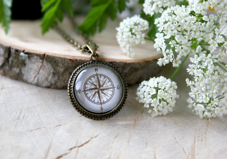 Vintage Compass Necklace Antique Bronze Pendant Glass
