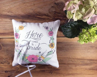 Ring bearer wedding pillow, white linen ring bearer pillow, here comes the Bride,  wedding pillow floral, wedding ring keeper pillow, pillow