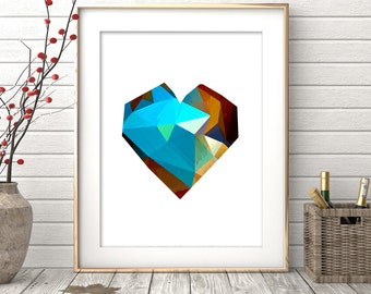 Printable Art, Geometric Heart Print, Digital Print, Wall Art, Home Decor, Scandinavian Poster, Geometric Art Printable, Love, Modern Decor