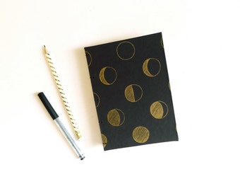 Gold Moon Phase Journal / Letterpress Blank Notebook / Black and Gold Notebook / Hand Bound Coptic Book