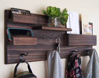 Coat and Key Hooks Entryway Organizer Mail Storage Sunglasses Storage Coat Rack