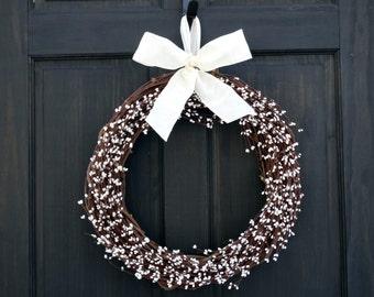 Winter Wreath, Year Round Wreath, Front Door Wreath, White Wreath, Everyday Wreath, Winter Berry Wreath, Front Door Decor, Pip Berry Wreath