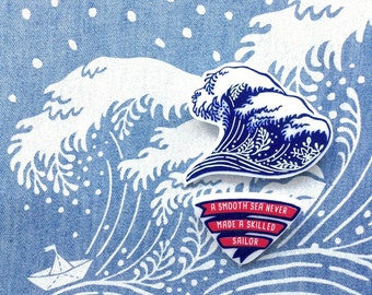 Hokusai Wave Brooch,Sailor Banner,Navy Pin Badge,Nautical Fashion,Rocker Brooch,Man Summer Gift,For Her,New Zealand,Surf Pin,Groomsmen Gift
